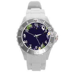 Spring Wind Flower Floral Leaf Star Purple Green Frame Round Plastic Sport Watch (l)