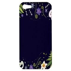 Spring Wind Flower Floral Leaf Star Purple Green Frame Apple iPhone 5 Hardshell Case