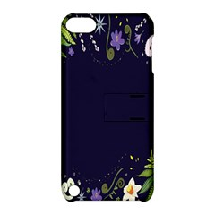 Spring Wind Flower Floral Leaf Star Purple Green Frame Apple iPod Touch 5 Hardshell Case with Stand