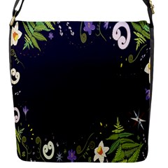 Spring Wind Flower Floral Leaf Star Purple Green Frame Flap Messenger Bag (S)