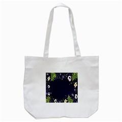 Spring Wind Flower Floral Leaf Star Purple Green Frame Tote Bag (White)