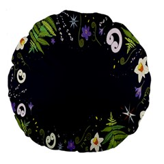 Spring Wind Flower Floral Leaf Star Purple Green Frame Large 18  Premium Flano Round Cushions