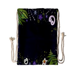 Spring Wind Flower Floral Leaf Star Purple Green Frame Drawstring Bag (Small)