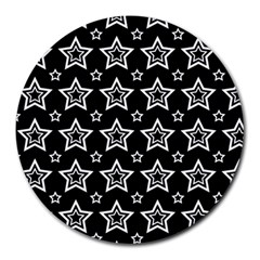 Star Black White Line Space Round Mousepads