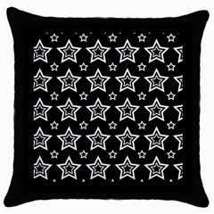 Star Black White Line Space Throw Pillow Case (Black)