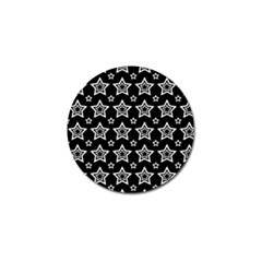 Star Black White Line Space Golf Ball Marker (4 pack)