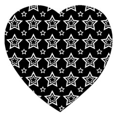 Star Black White Line Space Jigsaw Puzzle (Heart)