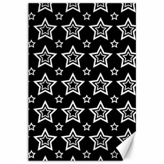 Star Black White Line Space Canvas 12  x 18