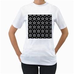 Star Black White Line Space Women s T-Shirt (White)