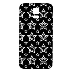 Star Black White Line Space Samsung Galaxy S5 Back Case (White)