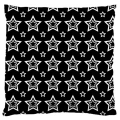 Star Black White Line Space Large Flano Cushion Case (One Side)
