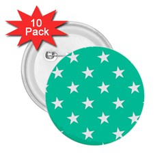 Star Pattern Paper Green 2 25  Buttons (10 Pack)