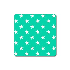 Star Pattern Paper Green Square Magnet