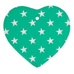 Star Pattern Paper Green Heart Ornament (Two Sides)