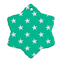 Star Pattern Paper Green Snowflake Ornament (Two Sides)