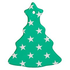 Star Pattern Paper Green Christmas Tree Ornament (Two Sides)
