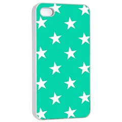 Star Pattern Paper Green Apple iPhone 4/4s Seamless Case (White)