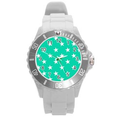 Star Pattern Paper Green Round Plastic Sport Watch (L)