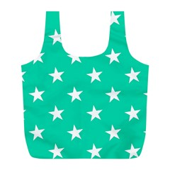 Star Pattern Paper Green Full Print Recycle Bags (L)