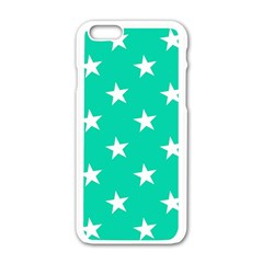 Star Pattern Paper Green Apple iPhone 6/6S White Enamel Case