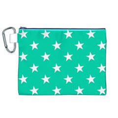 Star Pattern Paper Green Canvas Cosmetic Bag (XL)