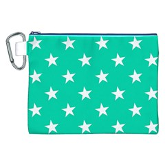 Star Pattern Paper Green Canvas Cosmetic Bag (XXL)