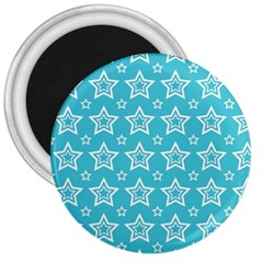 Star Blue White Line Space Sky 3  Magnets