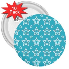 Star Blue White Line Space Sky 3  Buttons (10 Pack)