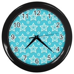 Star Blue White Line Space Sky Wall Clocks (Black)