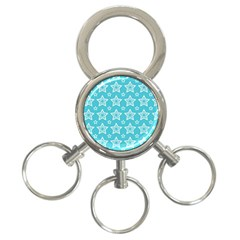 Star Blue White Line Space Sky 3-Ring Key Chains