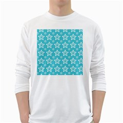 Star Blue White Line Space Sky White Long Sleeve T Shirts