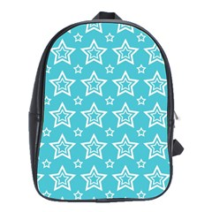 Star Blue White Line Space Sky School Bags(Large)