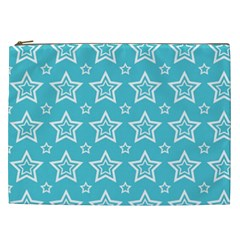 Star Blue White Line Space Sky Cosmetic Bag (XXL)