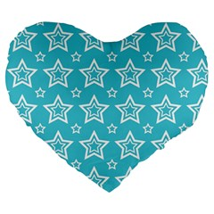 Star Blue White Line Space Sky Large 19  Premium Heart Shape Cushions