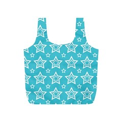 Star Blue White Line Space Sky Full Print Recycle Bags (S)