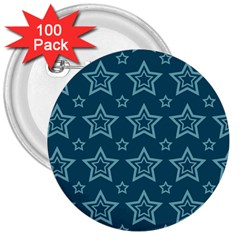 Star Blue White Line Space 3  Buttons (100 Pack)