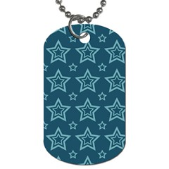 Star Blue White Line Space Dog Tag (One Side)