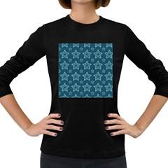 Star Blue White Line Space Women s Long Sleeve Dark T-Shirts