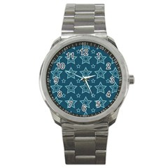 Star Blue White Line Space Sport Metal Watch