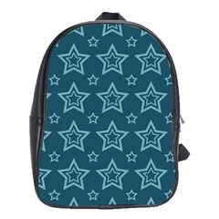 Star Blue White Line Space School Bags(Large)