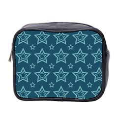 Star Blue White Line Space Mini Toiletries Bag 2-Side