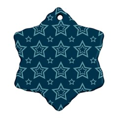Star Blue White Line Space Snowflake Ornament (Two Sides)