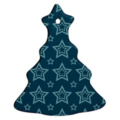 Star Blue White Line Space Christmas Tree Ornament (Two Sides)