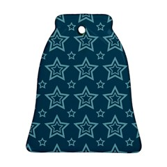 Star Blue White Line Space Bell Ornament (Two Sides)