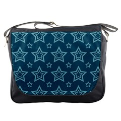 Star Blue White Line Space Messenger Bags