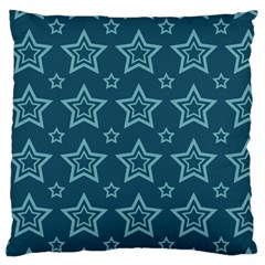 Star Blue White Line Space Large Cushion Case (Two Sides)