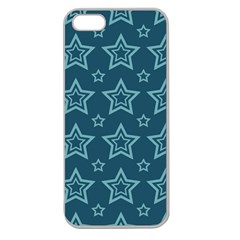 Star Blue White Line Space Apple Seamless iPhone 5 Case (Clear)