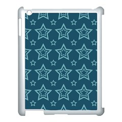 Star Blue White Line Space Apple iPad 3/4 Case (White)