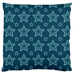 Star Blue White Line Space Standard Flano Cushion Case (One Side)