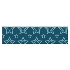 Star Blue White Line Space Satin Scarf (Oblong)